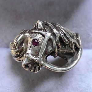 Sterling Horse Ring Ruby Eye Equestrian Hand Made